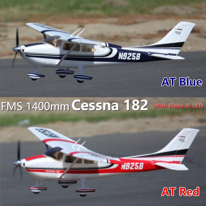 FMS 1400 milímetros RC Avião Cessna 182 PNP V2 5CH com Abas Trainer 3 S Azul Vermelho RC Avião Hobby avion de Aeronaves modelo de Asa Fixa EPO