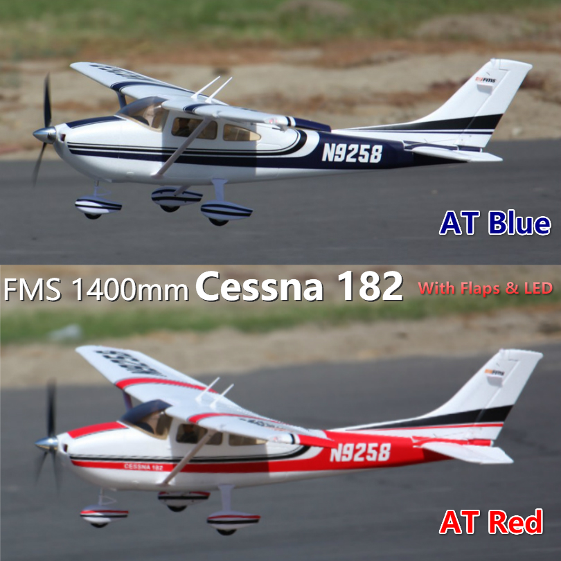 55.5 FMS Sky Trainer 182 RC Airplane 5CH 1400mm Wingspan at Blue with Flaps LED Beginner PNP No Radio, Battery, Charger