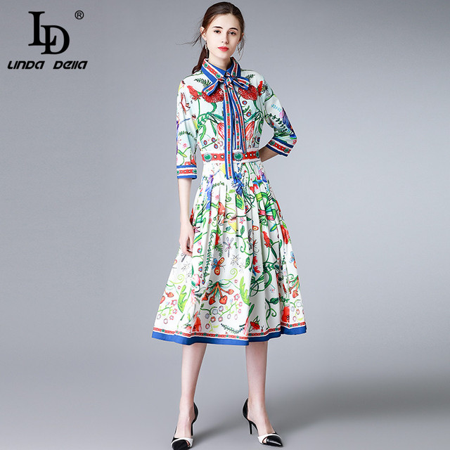 2312c655103 LD LINDA DELLA New 2018 Runway Designer Summer Dress Women s Bow Collar  Pleated Casual Floral Print