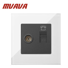 MVAVA TV + TEL Sokcet White Tempered Glass RJ11 Telephone and Television Socket Jack Outlet Wall Socket Free Shipping free shipping 86 standard tv and tel wall switch socket panel eu uk television telephone wall socket