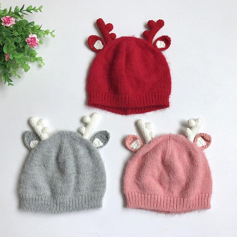 Рождество шерсть ткань Шапки детей Наряжаться Интимные аксессуары Санта олень Стиль вязаные шапки оленьего рога уха Шапки J2