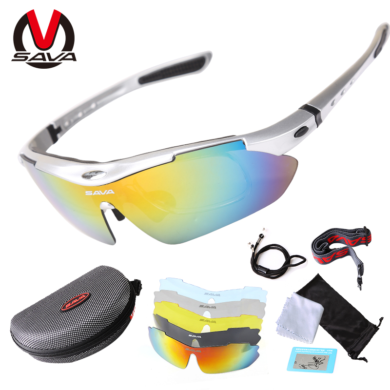 Sava 5 Lens Polarized Cycling Eyewear Anti-abrasion Bike Riding Sunglasses Bicycle Sun Glasses Cycling Equipment Sportswear