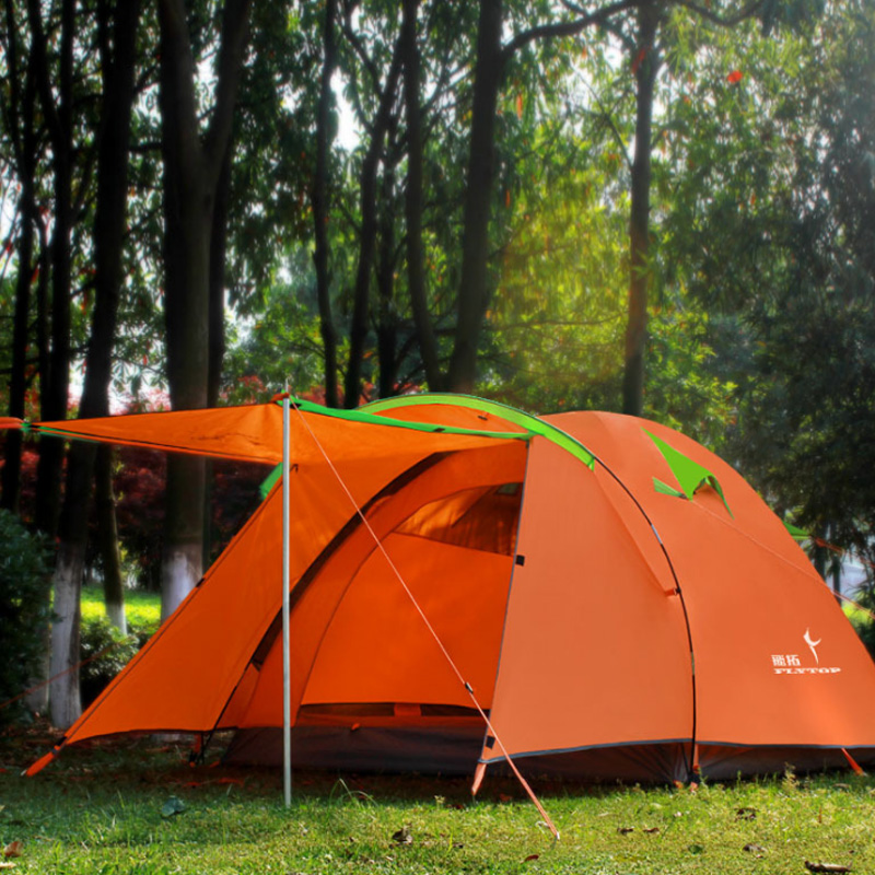 Ultralight Portable 2 Room Camping Tent Flytop Double Layer 4 Person 4 Season Ulatrlarge Outdoor Hiking Tourism Tente FE45 brand 1 2 person outdoor camping tent ultralight hiking fishing travel double layer couples tent aluminum rod lovers tent