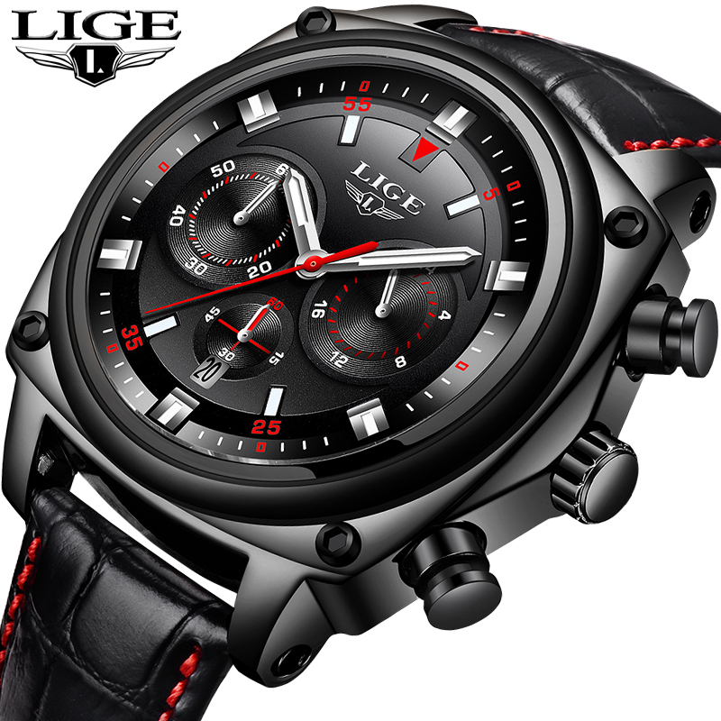 LIGE Brand New Mens Watches Fashion Business Big Dial Quartz Watch Casual Leather Waterproof Sport Relogio Masculino