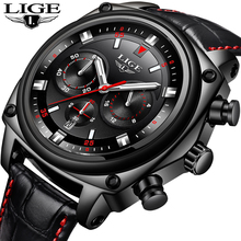 LIGE Brand New Mens Watches Fashion Business Big Dial Quartz Watch Mens Casual Leather Waterproof Sport Watch Relogio Masculino цена
