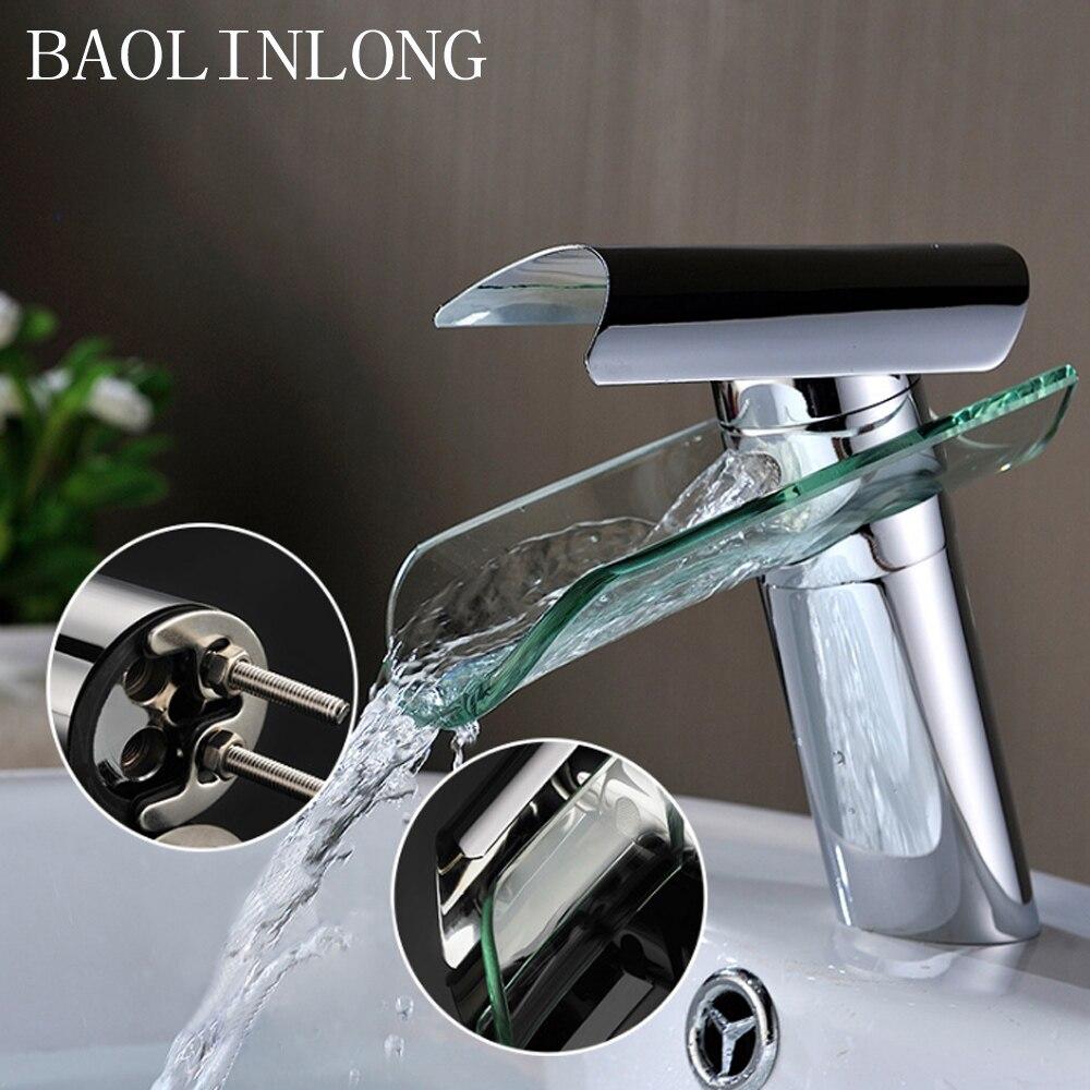 Brass glass Deck Mount Bathroom Faucets Basin Vanity Vessel Sinks Mixer Bath Faucet Tap