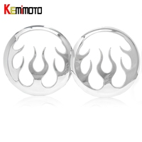 For Harley Motorcycle Flame Speaker Accents 2014 2015 Touring Trike Chrome Cover Parts US