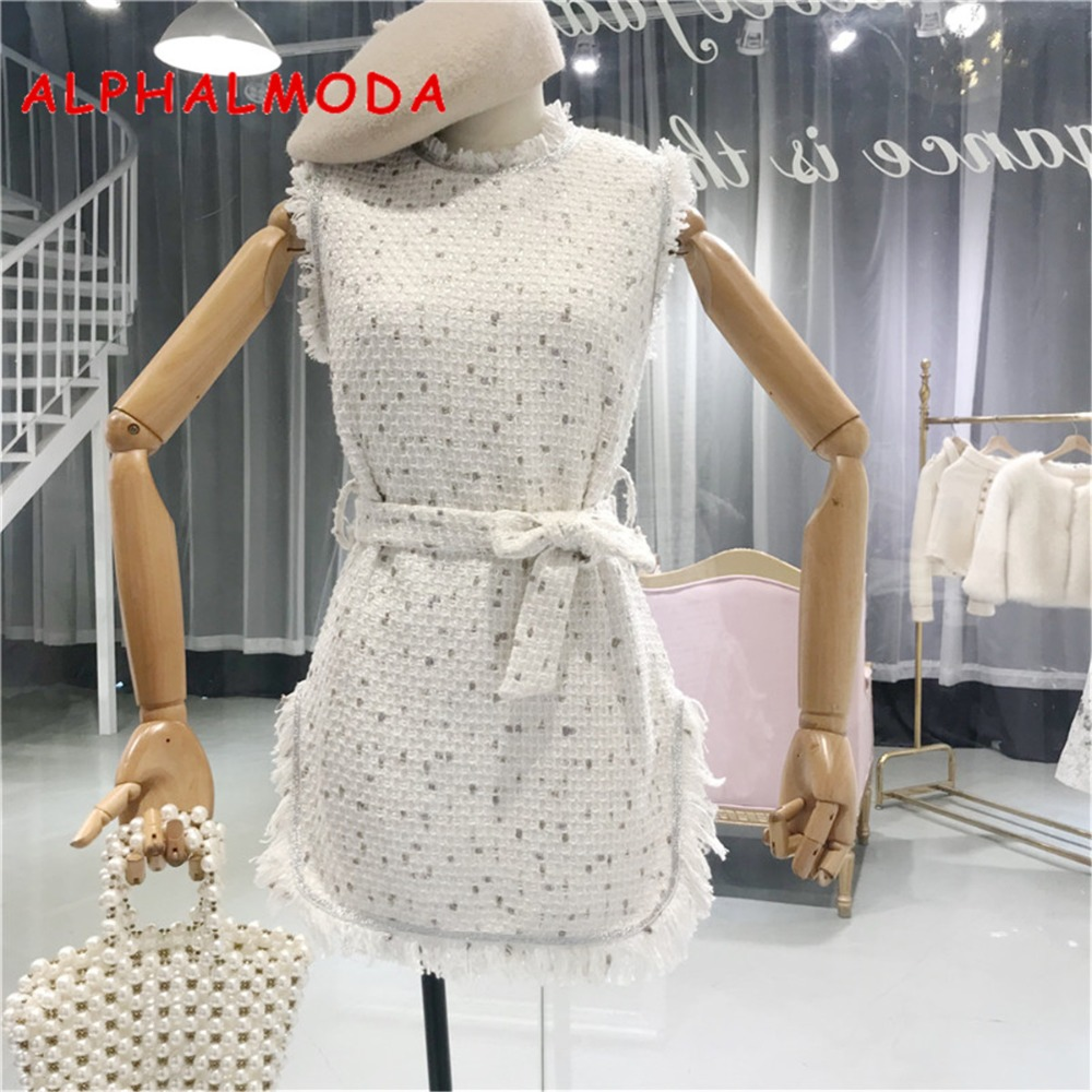 ALPHALMODA Autumn Tweed Dress Sleeveless Side Slit Tassel Women Elegant Mini Vestidos High Waist Pullovers Sashes Graceful Dress