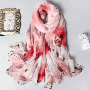 Image 2 - Real Zijden Sjaal Voor Vrouwen 2020 Nieuwe Mode Bloemenprint Sjaals En Wraps Dunne Lange Pashmina Dames Foulard Bandana Hijab sjaals