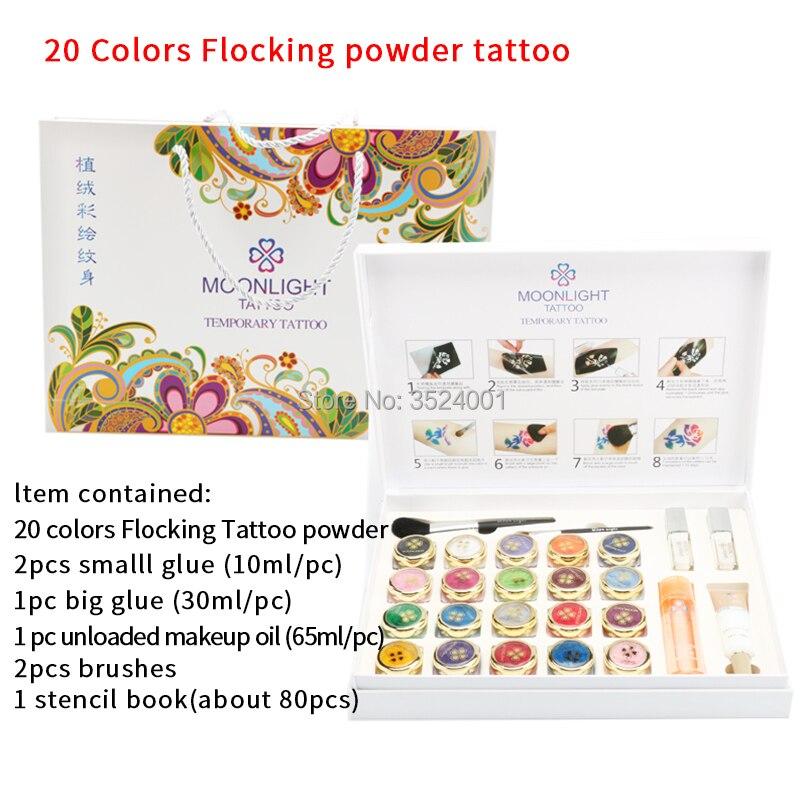 2017 новые высококачественные 20 цветов флокирующая Пудра Набор татуировок для временный боди арт татуировки Кисти клей трафареты Бесплатная