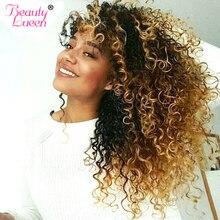 Ombre Brazilian Hair Kinky Curly Weave Human Hair Bundles 3 Tone Honey Blonde Bundles Hair Extension Non- Remy Hair Beauty Lueen