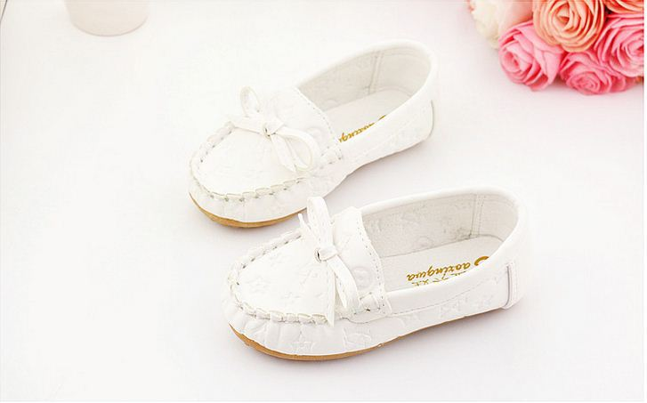 Spring/Autumn ChildrenS Shoes For Girls Princess Shoes Kids Boys Bow Tendon At The End Of Soft Leather Shoes Peas