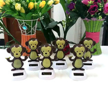 Wholesale Price 10 Pieces Per Lot  Swing Under Sunshine No Battery Novelty Home&Car Decoration Happy Dancing Solar Monkey Toys