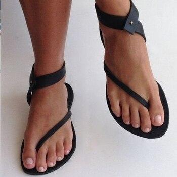 2018 Women flats Sandals women Shoes Woman Summer Fashion Flip Flops Ladies Shoes Rome Summer sandals Plus Size 35-43 римские сандали