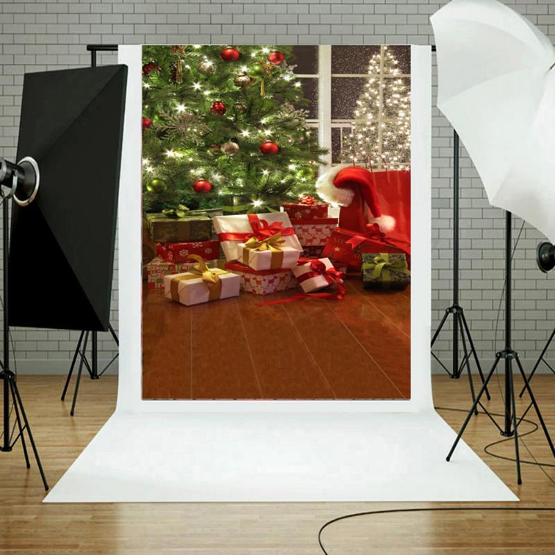 ALLOYSEED Newest Photo 3D Effects Background Christmas Tree Gifts Studio Photo Backdrop Photography Props 3x5ft