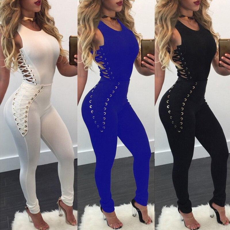 2018 Women Jumpsuit Fashion New Style Sexy Lace Up Bodysuit Sleeveless Cutout Corns High Waist Jumpsuit
