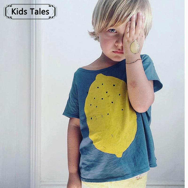2017 fashion lemon printed t shirt baby boy t shirts short for Boys printed t shirts