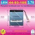 [L654] 3.7 V, 6000 mAH, [4493105] NTC, Polímero de iões de lítio/bateria do Li-íon para tablet pc, mobile POWER bank; cubo, pipo, P85, VI40, A86