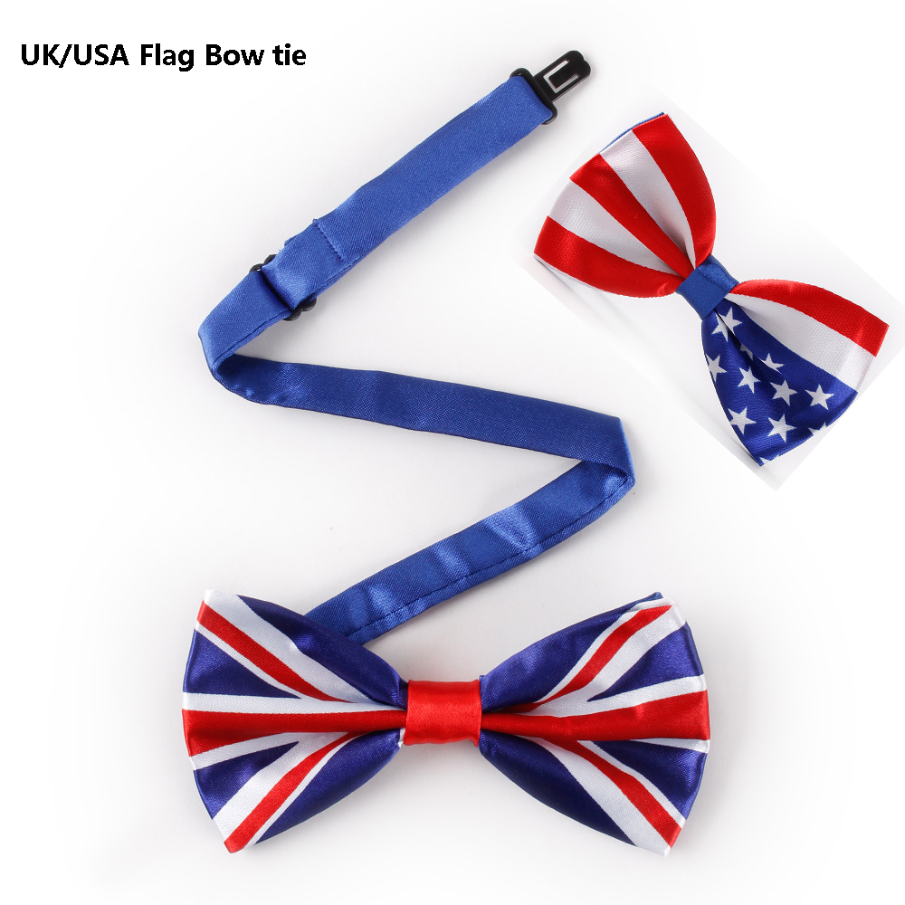 VEEKTIE New Novelty Bowtie Mens Suit Fashion Print UK/USA American Flag Big Bow Ties For Men  Red White Stars-and-Stripes