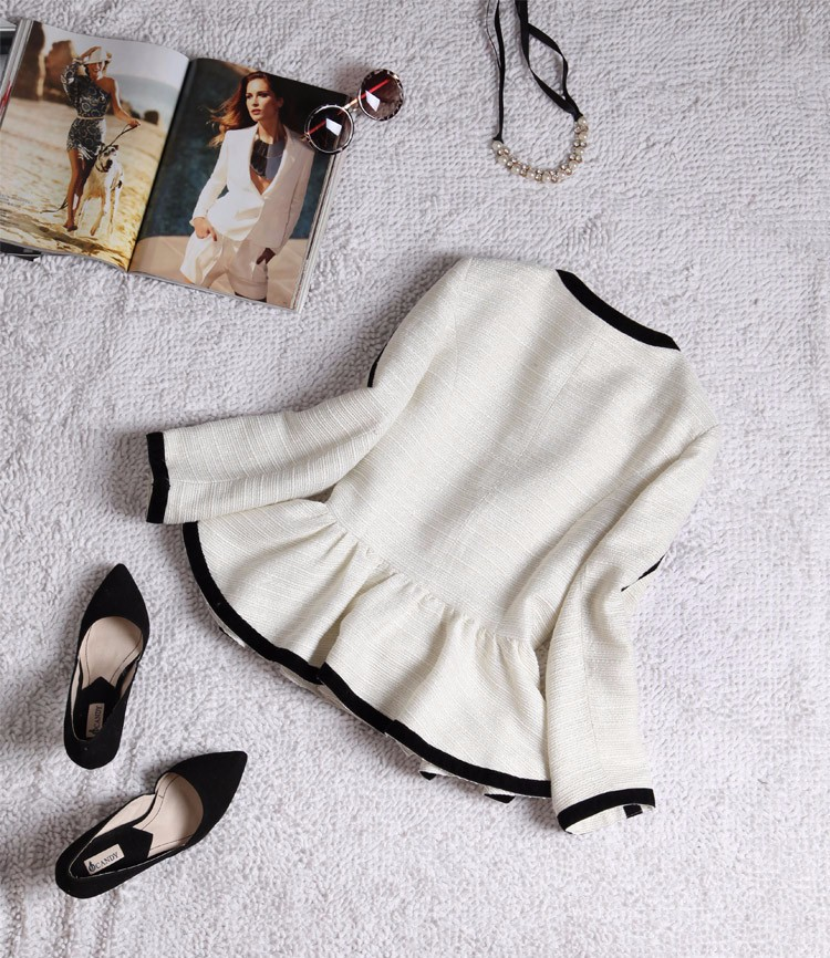 High-end Black White Patchwork Ruffle Decoration Blazer and Short Pants Women Suits Autumn 2015 (3)