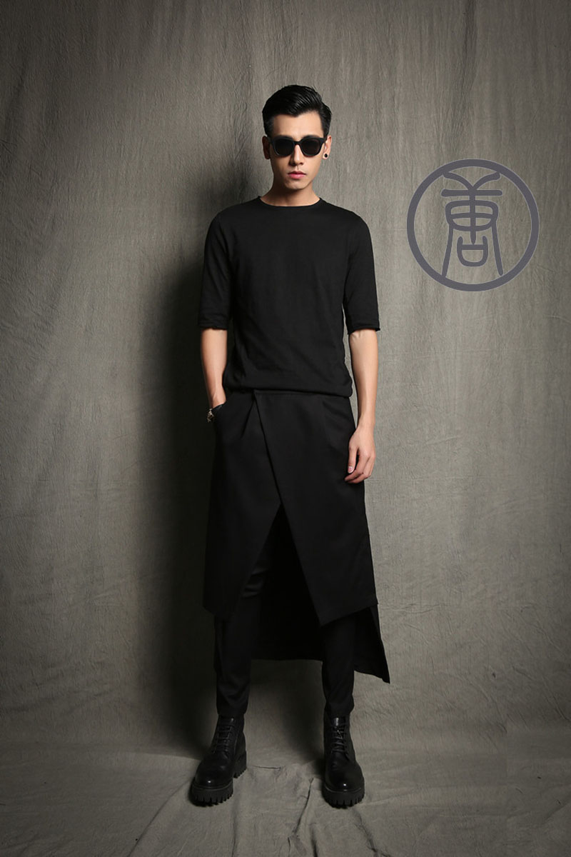 S-5XL!!Male culottes boot cut jeans trend costumes pants skirt novelty harem casual trousers