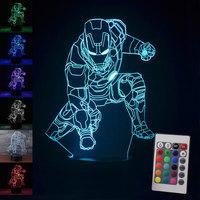 Superheroes 3D Night Lights Touch Iron Man Table Lamp Home Decoration 7 Color RGB LED Lights