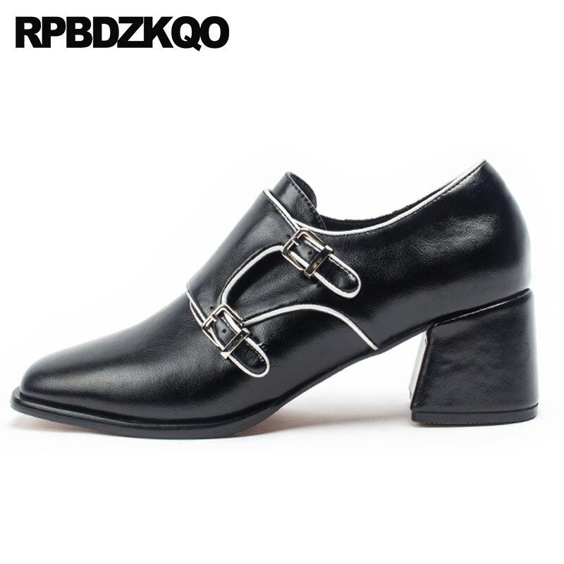Moyen Bloc Qualité marron Supérieure Noir Talons Pour Femelle Velours Luxe Brun Chaussures Épais Noir De 4 34 Femmes Bout 2018 Taille Moderne Carré Mode 4q7Xw1