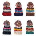 Mujeres Moda Invierno Cálido de Lana del Hilado Casquillo Hecho Punto Color Mezclado Sking Sombrero