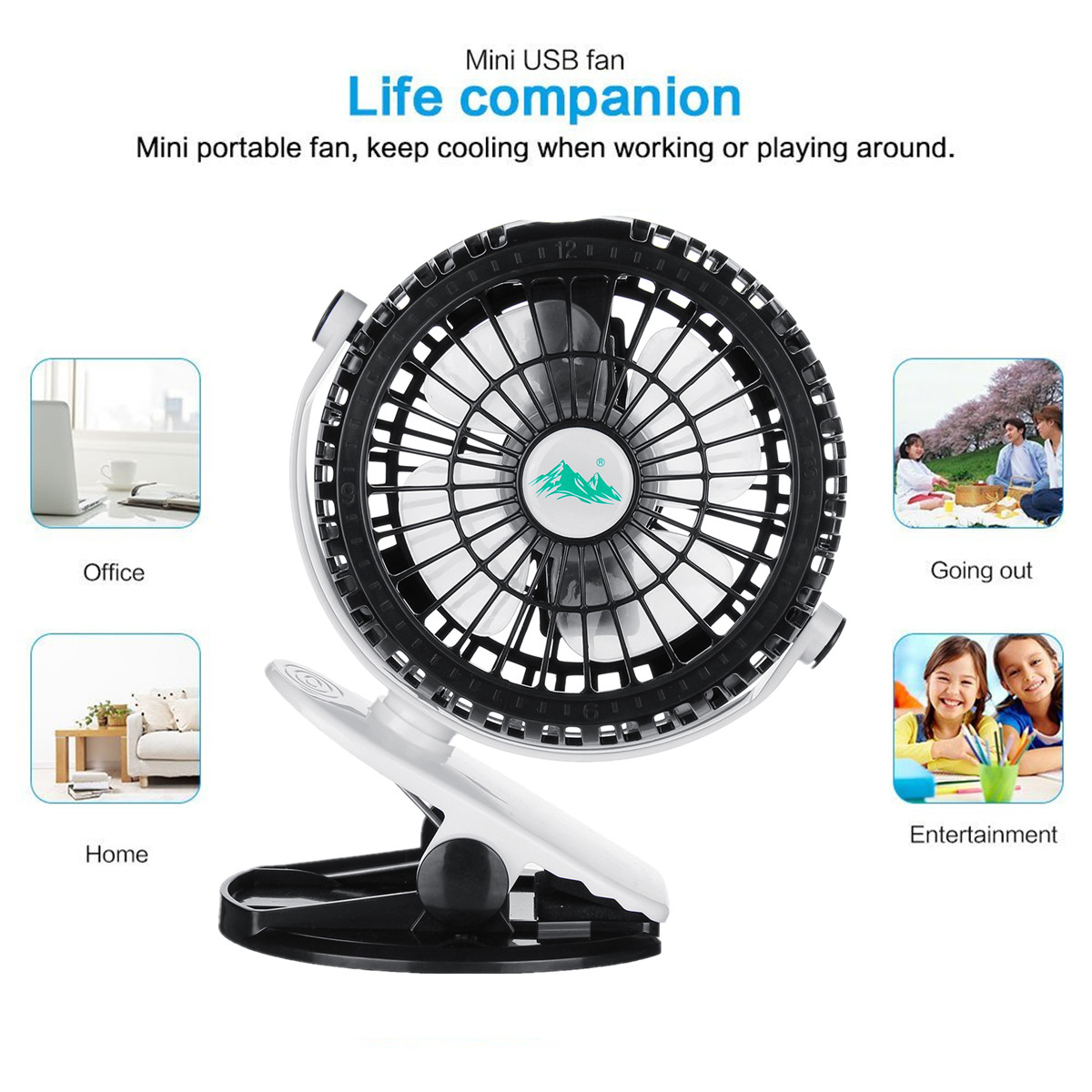 Portable Rechargeable Battery USB Fan Mini Clip Fan For Baby Stroller Car Adjustable 360 Rotatable 3 Control Speed Firm Grip