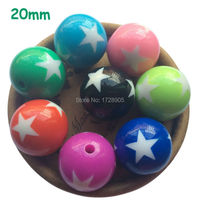 Free Shipping Chunky Beads Green Blue Pink Orange Black Red Resin Round Beads With White Star Printed Beads 20mm 115 Pieces