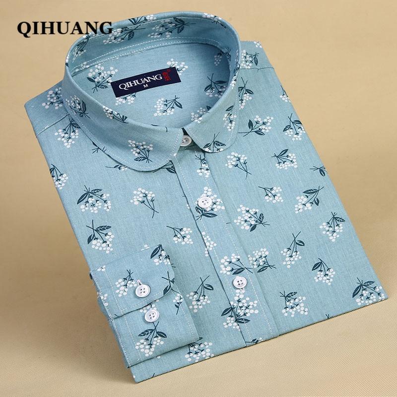 QIHUANG Fashion Women Blouses Cotton Long Sleeve Shirt Floral Printed Turn-down Collar Female Shirt 2019 Plus Size Women Tops