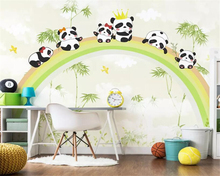 цена Beibehang Custom Children room background 3d wallpaper mural Rainbow forest panda photo wallpaper papier peint mural 3d