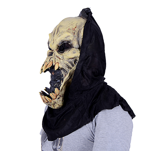 Halloween Horror Mask green latex party bar black cloth hood horror mask - Shenzhen Y&X Electronic Co.,Ltd store