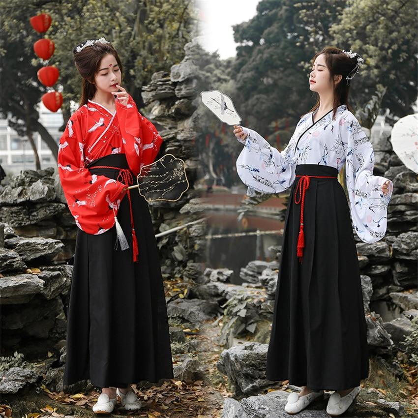Woman Japanese Traditional Kimono Dress Oriental Printed Elegant Dress Top Skirt Vintage Asian Party Cosplay Costumes
