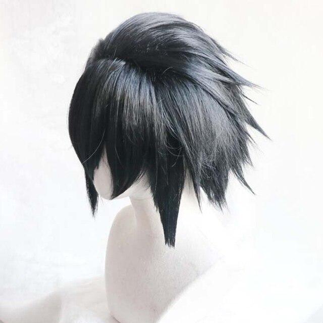 Черный короткий аксессуар для волос пушистой цветок синтетические волосы парики Наруто Учиха Косплей-костюм SASUKE парик теплостойкое волокно + парик Кепка