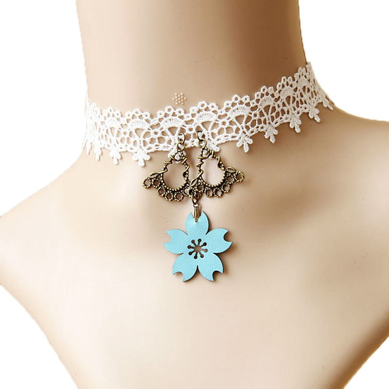 Lolita Gothic White Lace Chain Bib Wedding Bridal Party Choker Collar Necklace
