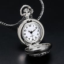 Fashion Modern Silver Crystal Flower Quartz Pocket Watch Necklace Pendant Women Lady Girl Birthday Gift Relogio De Bolso Antigo