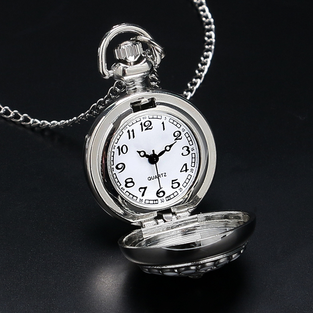 Fashion Modern Silver Crystal Flower Quartz Pocket Watch Necklace Pendant Women Lady Girl Birthday Gift Relogio De Bolso Antigo