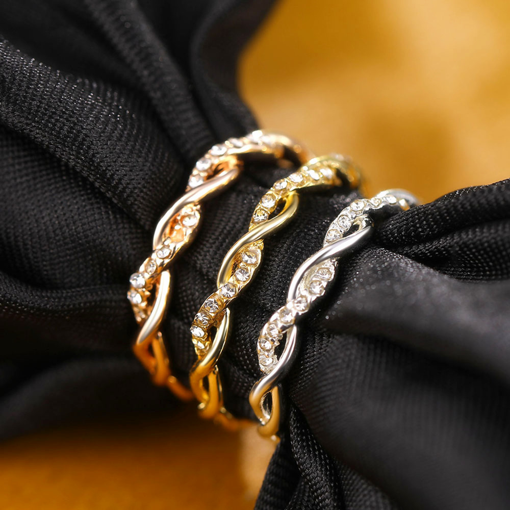 Simple thin style Rose Gold Color Twist Ring Fashion Zirconia Wedding Engagement Ring for Women Elegant Crystal Ring Bague Femme
