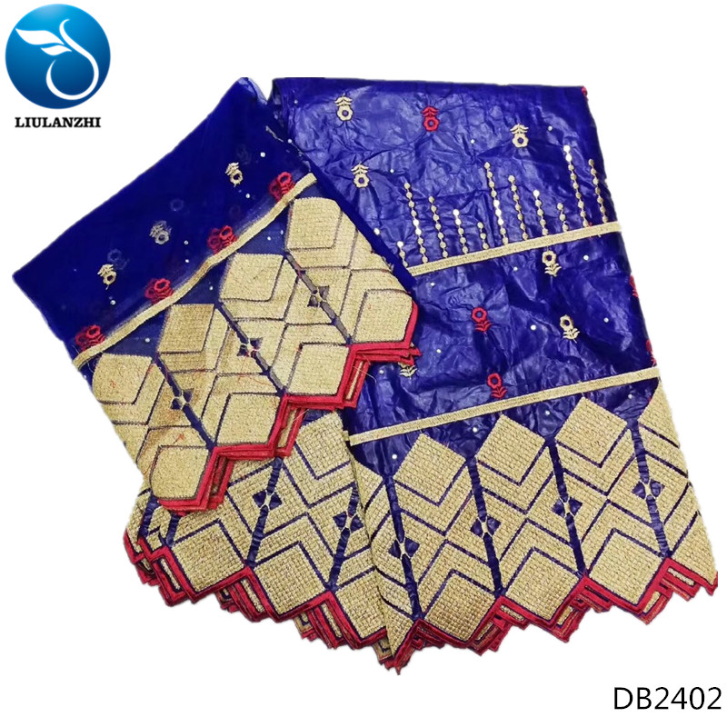 LIULANZHI bazin riche cotton fabric for dress blue fabrics for patchwork material with laces 7yards lot