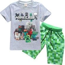 d0c8d1d9a7b49 Jeu 3D T-shirt à manches courtes + short costume Minecraft été 100% coton  dessin animé enfants garçons et filles T-shirt pour en.