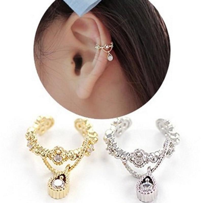Earring Jewelry Wrap Ear-Cuff Cartilage-Clip Faux-Piercing Rhinestone Silver-Gold Punk