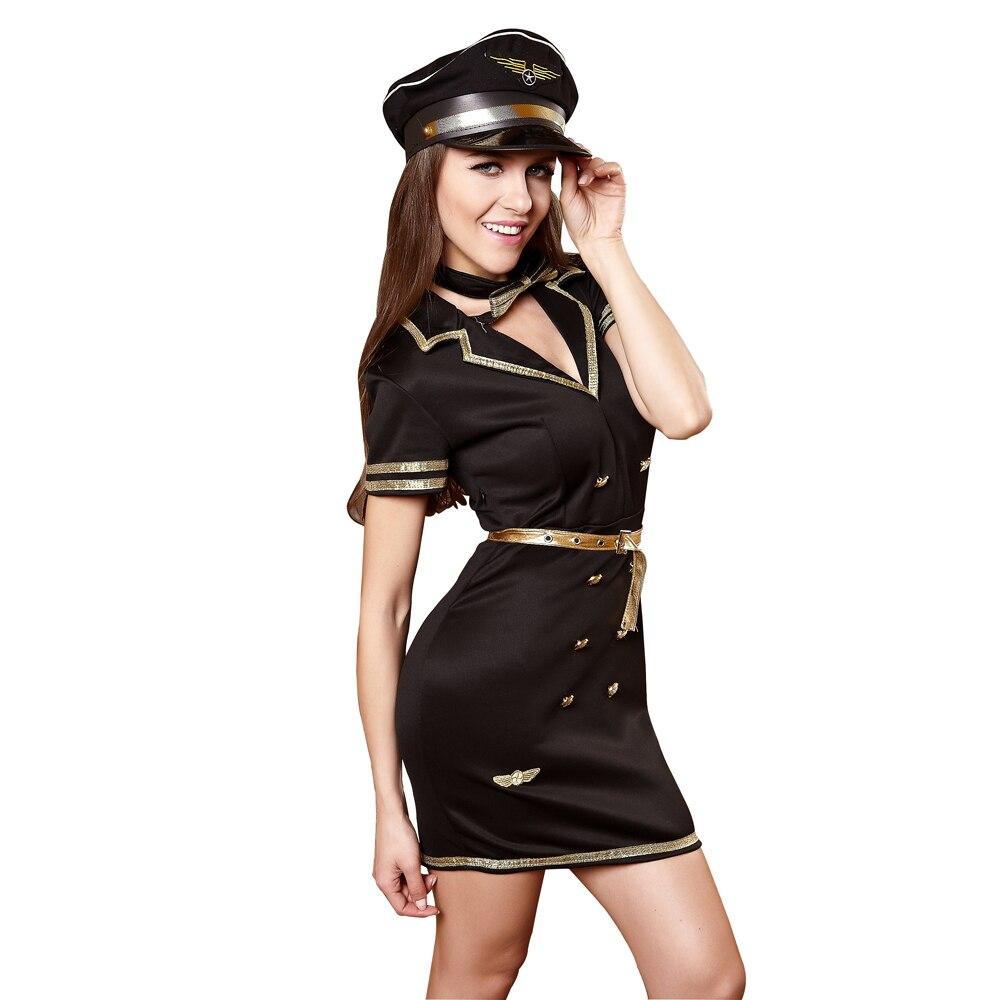 Lingerie Sexy policière Costume compagnie aérienne hôtesse Cosplay Costume Sexy pilote uniformes tentation filles discothèque vêtements