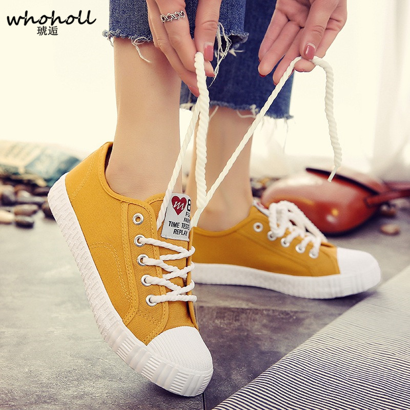 WHOHOLL Woman Casual shoes Classic Shallow Mouth White Women Canvas Shoes New Solid Color Lace-up Chaussure Femme Shoes ce emc lvd fcc factory outlet stores bo 715qy adjustable ozone generator air medical water with timer 1pc page 7