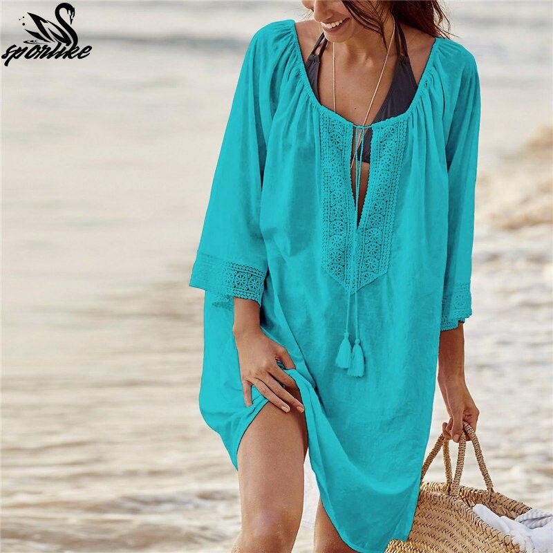 Bikini de encaje de Crochet de traje de baño playa vestido de las mujeres 2019 verano cubierta Ups traje de baño ropa de túnica