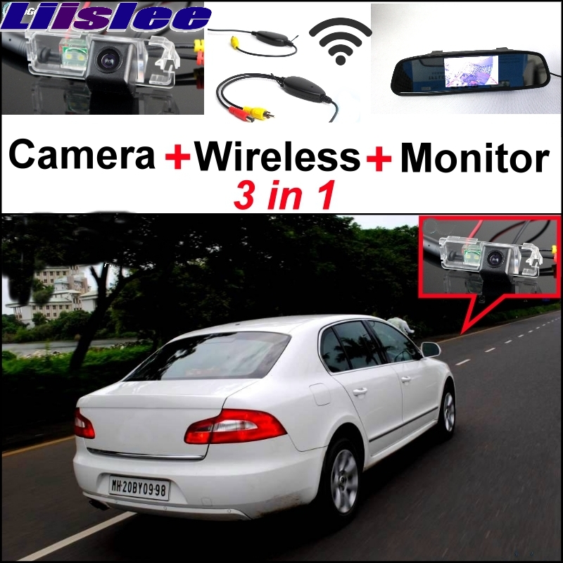 Liislee Special Rear View Camera + Wireless Receiver + Mirror Monitor Parking System For Skoda Superb B6 Super b 3 T MK2 Rapid 3 in1 special rear view camera wireless receiver mirror monitor back up parking system for citroen ds3 ds 3 2009 2015