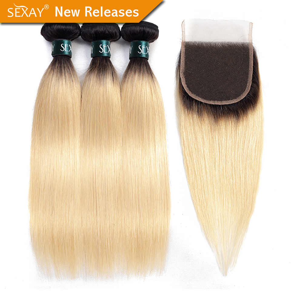 1B/613 Bundles With Closure SEXAY 613 Honey Blonde Human Hair 3 Bundles With Closure Brazilian Straight Hair Weave Remy Hair