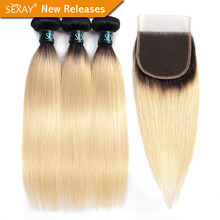 1B/613 Bundles With Closure SEXAY 613 Honey Blonde Human Hair 3 Bundles With Closure Brazilian Straight Hair Weave Remy Hair(China)
