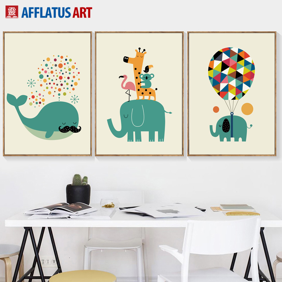 Dibujos animados Elefante Ballena Koala Jirafa Globo Arte de la pared Pintura de la lona Nordic Posters and Prints Wall Pictures Kids Room Decor
