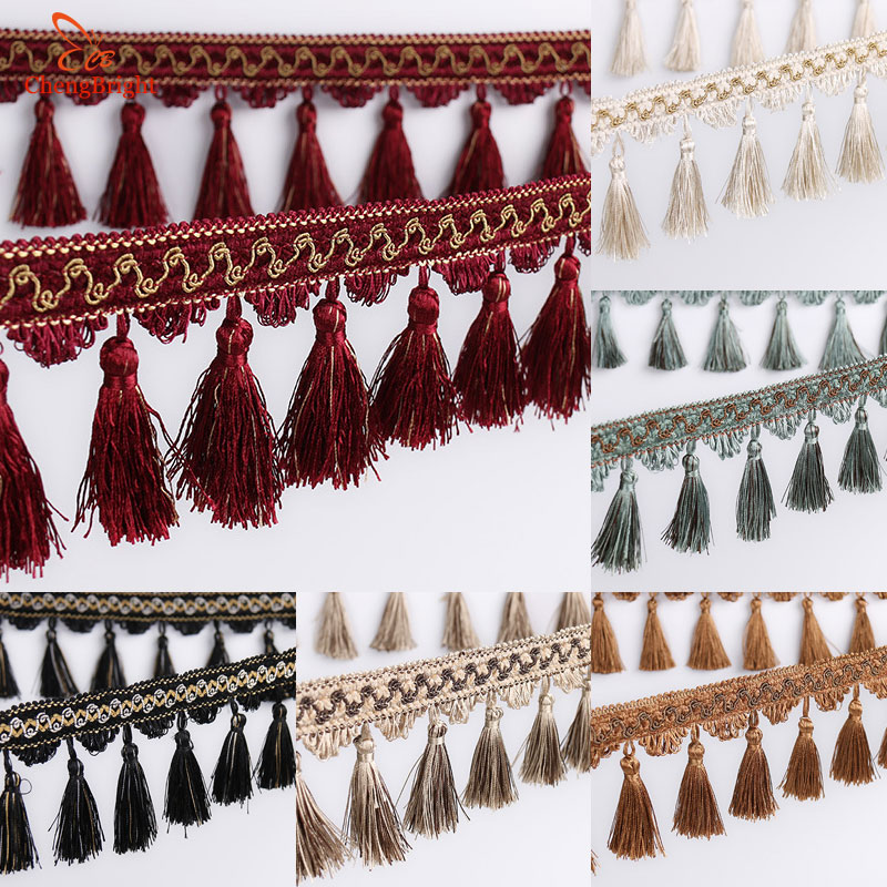 CHENGBRIGHT New 10 Meters 16CM Width Polyester Lace Tassel Flower Curtain Cloth Lace Home Decoration Accessories Textile Tassels